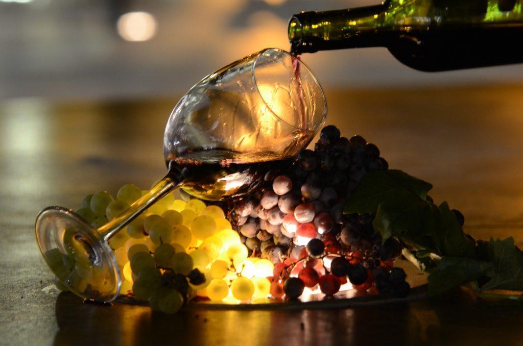 wine, sun, silhouette